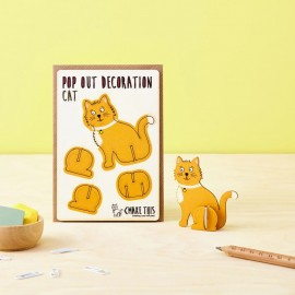 Pop Out Card Decoration Ginger Cat