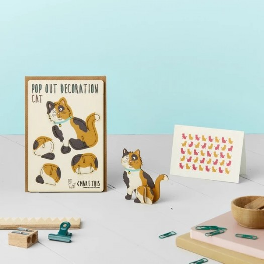 Pop Out Card Decoration Calico Cat