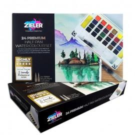Farby Akwarelowe Zieler Half Pan Water Colour Set 24 kolory