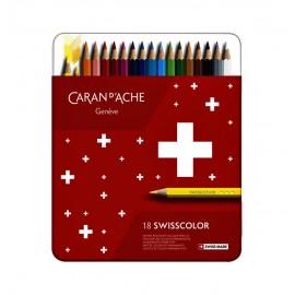 Kredki Caran d'Ache Swisscolor 18 sztuk w metalowym opakowaniu