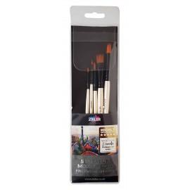 Zieler 5 Premium Mixed Media Fine Taklon Brushes