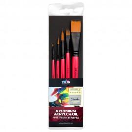 Zieler 5 Premium Acrylic & Oil Fine Taklon Brushes