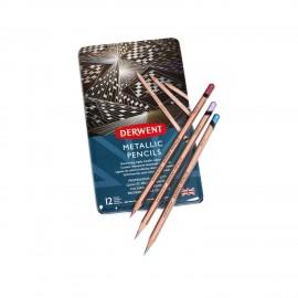 Zestaw kredek Derwent Metallic Pencils 12 sztuk