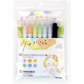 Zestaw Brush Penów Kuretake Zig Clean Color Real Brush Pastelowe