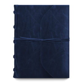 Bomo Art Full Leather Bound with Tie Journal Navy