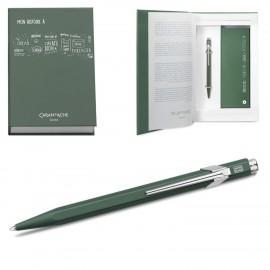 Gift Box Caran D'Ache Ballpoint Pen 849 + Notebook Olive Green