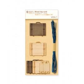Etykietki prezentowe Midori PCM Wood Tag Card Walizka