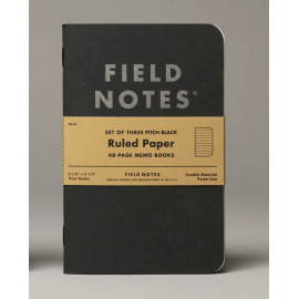 Field Notes Pitch Black Lined 3-Packs