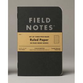 Notesy Field Notes Pitch Black 3 szt. w linie