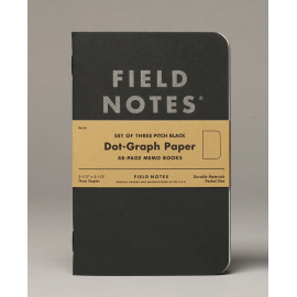 Field Notes Pitch Black Dot-Graph 3-Packs