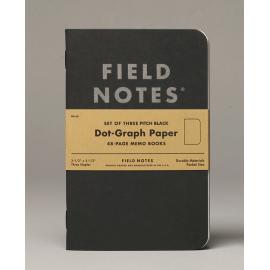 Notesy Field Notes Pitch Black 3 szt. w kropki