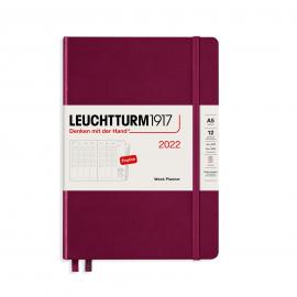 Kalendarz Leuchtturm1917 Tygodniowy Wertykalny 2022 Port Red (A5)