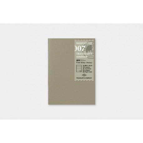 Wkład do Traveler's Notebook 007 (Passport Size): Kalendarz wieczny tygodniowy